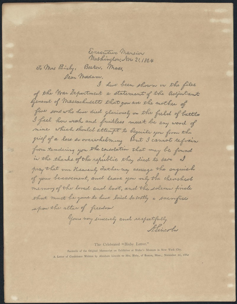 letter from abraham lincoln to mrs bixby excellence in literature by janice campbellexcellence in literature by janice campbell